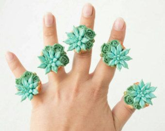 Green Blue Succulent Planter Round Ring Wholesale Succulent Wholesale 2,5 cm Plants Arrangement Succulent Jewelry Wedding Birthday Gifts