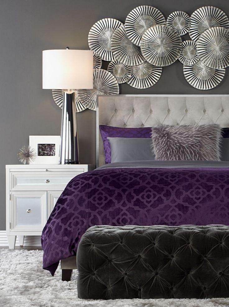 Chambre Violet D 233 Co Mur Gris Blanc Ottoman Velours
