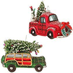 RAZ Imports Christmas Car and Truck Glass Ornaments - Set of 2