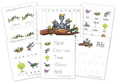free printable bird learning pack (one for kindergarten and one for preschool)- unusual activities in them that I love!