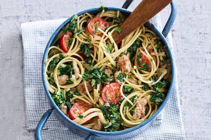 22 Maart 2017 - Spaghetti + braadworst in de bonus = spaghetti op z'n anders op je woensdag.- Recept - Allerhande