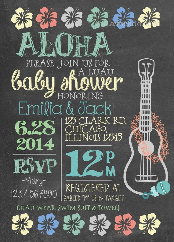 Luau Baby Shower Invitation - DIY or Professionally Printed Cards