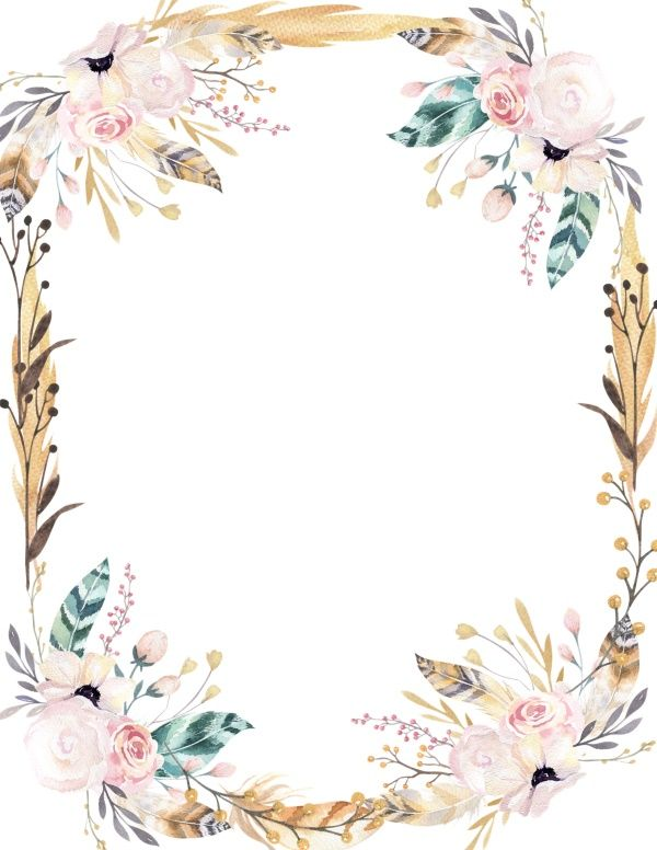 Free Printable Watercolor Flower Borders And Backgrounds Floral