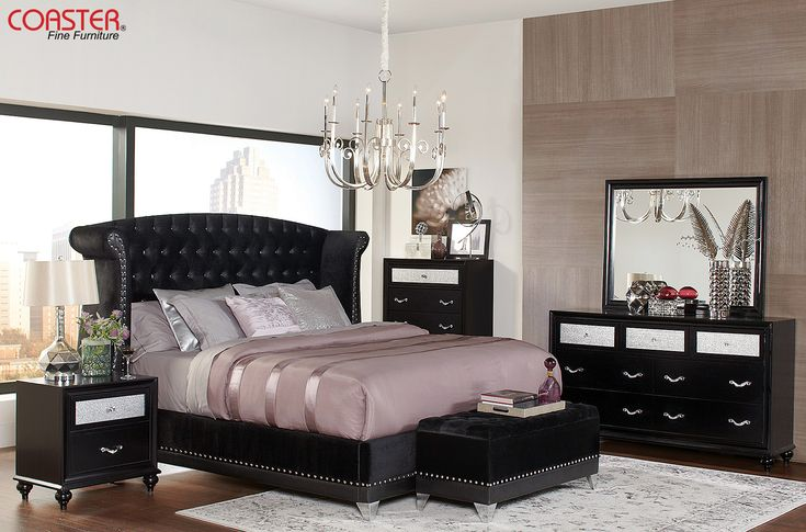 Get ready to live like a rock star with our Barzini Bedroom Collection!   The dark glam look fits perfectly into our Godfathers Den Gallery. (Item# 300643Q)   #Decor #HomeDecor #HomeImprovement #HomeMakeover #HomeFurnishing #HomeGoals #InteriorDesign #Interior123 #InteriorDecor #HomeStyle #HomeInspiration #HomeInspo #DesignInspo #Bedroom #BedroomDecor #MasterBedroom #FurnitureDesign #Bed #Nightstand #Dresser #Chest #CoasterCompany #Coaster