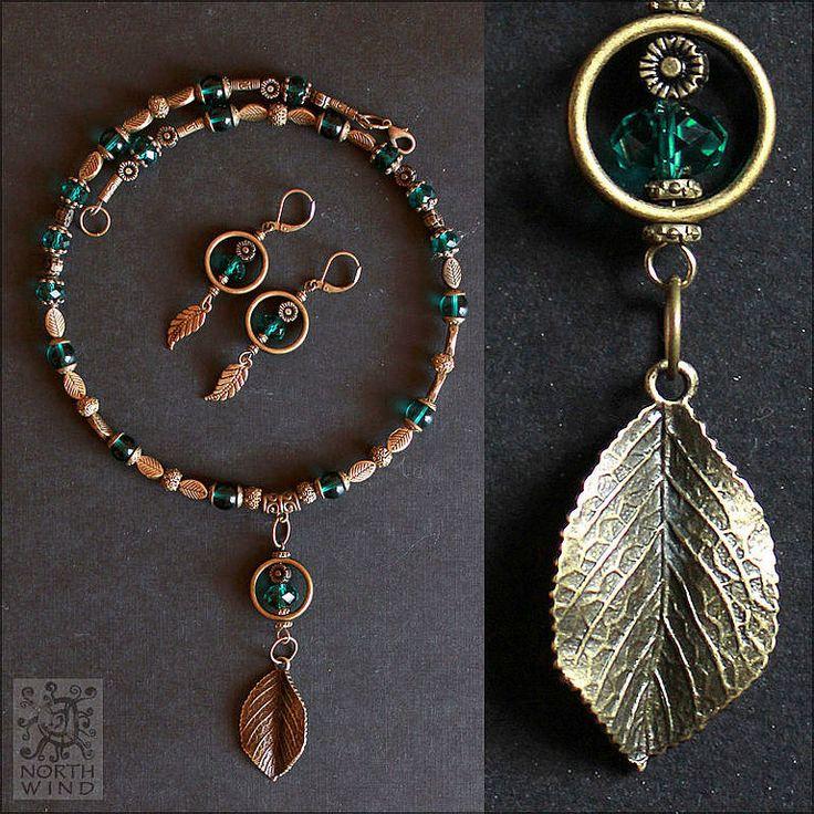 Купить Комплект ожерелье и серьги Глубина Леса - зеленый, зеленое ожерелье…