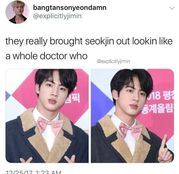 HELLO I WOULD HAVE NO OPPOSITION TO JIN BEING CAST AS THE DOCTOR YES PLS I DIDN'T KNOW I NEEDED THIS