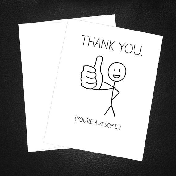Simple Thank You Card Thank You Youu0027re Awesome By PithyDiction