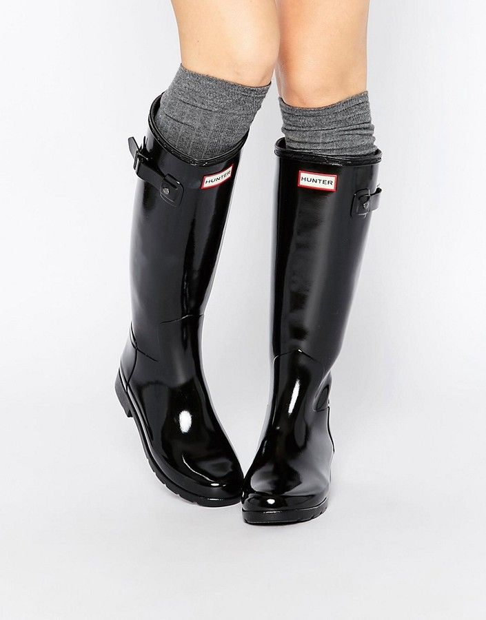 f7a62af5829a Hunter original refined black gloss tall wellington boots in 2019 ...