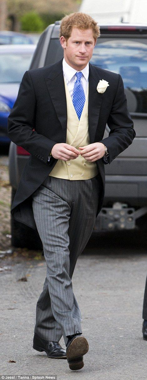 Scrubs up well! Prince Harry was dapper in morning dress, with a yellow waistcoat, chequered blue tie and white rose in his buttonhole. Dec 19, 2014