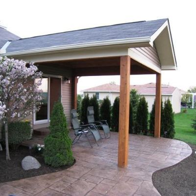 Beautiful Open Porch Custom Designed And Built In Cedar Over Stamped  Concrete Patio. Note The
