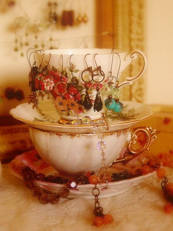 34 Ideas How To Store Your Jewelry  Tea cups for jewelry, although I don't have any that I don't use.: