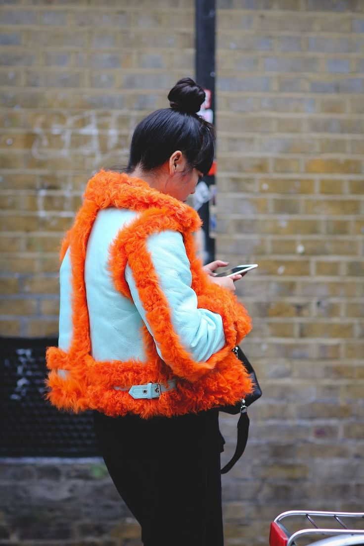 The Best Street Style At LFW SS17 #refinery29  http://www.refinery29.uk/2016/09/118817/street-style-lfw-ss17#slide-6  Susie Bubbles leaves the Marques' Almeida show wearing a neon Marques' Almeida jacket, Sportmax top and MM6 trousers....