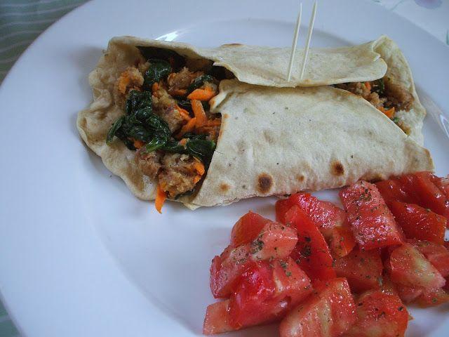Da Panela para o Coração : Tortilha mexicana com alheira, espinafres e cenoura