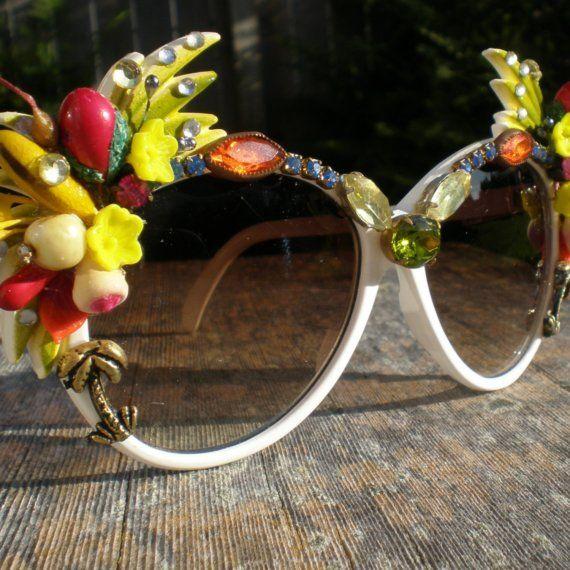 Tropical Sunrise Vintage Rhinestone Palm Tree Statement Sunglasses 1980s Unique Eye Wear via Etsy