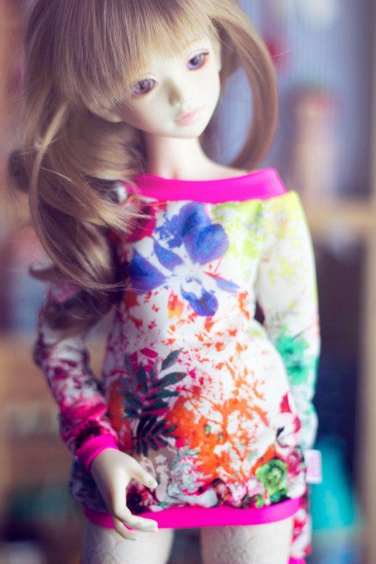 Neon Flowers sweater for MSD size bjd dolls Unoa by sugardollshop, $18.00