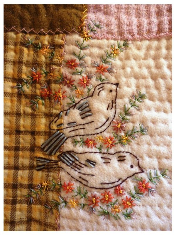 such cute little birds! in blues or pinks, or even yellows and greens, this would be so cute on a baby blanket.
