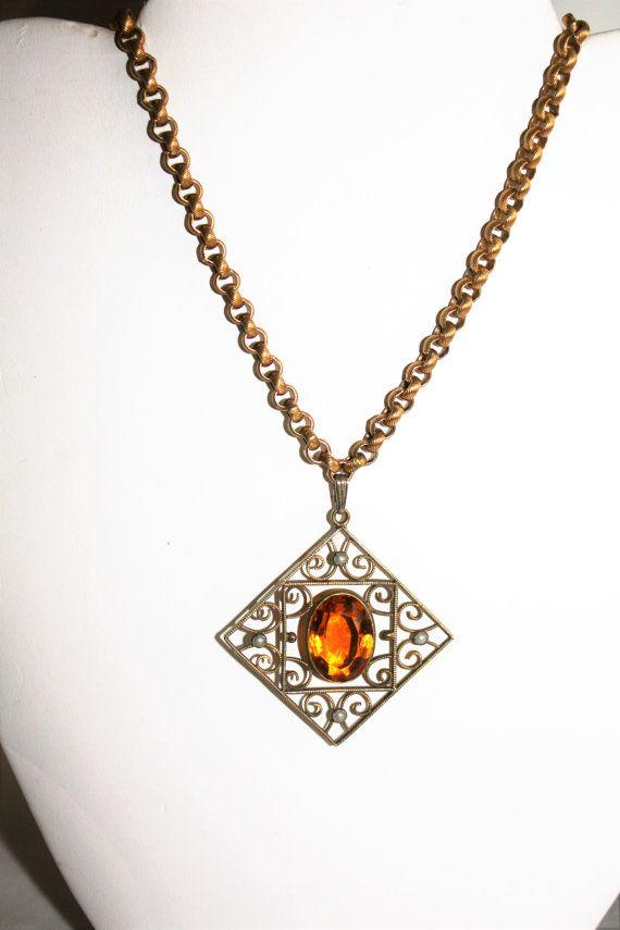 Vintage Citrine Pendant Necklace Art Deco Seed Pearl Citrine
