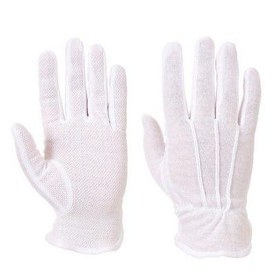 Guante Microdot blancos rizo 100% algodón con puntos PVC