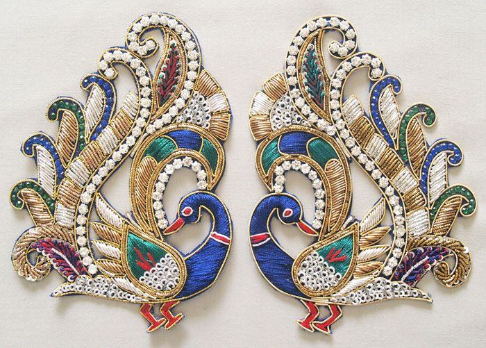 2 Hand Beaded Appliques Sparkling Pair of Peacocks Prong ...