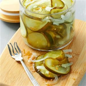 Microwave Pickles Recipe -You can enjoy a small batch of these sweet crunchy pickles anytime without the work of traditional canning methods. They're loaded with flavor and so easy to make. —Marie Wladyka, Land O'Lakes, Florida