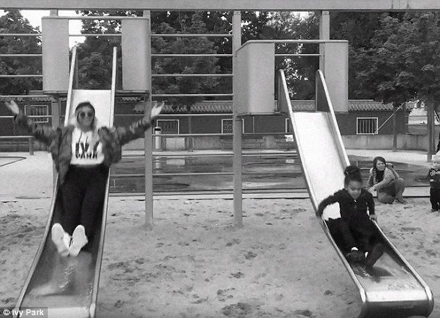 Goofing around: The video showed the proud mama enjoying a play date with Blue Ivy at the park