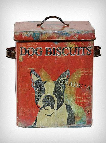 "Well Loved Dog Biscuit Box $32.00  The perfect size for storing your pups favorite treats, this darling doggy biscuit square tin canister features a faux-antiqued vintage style decoupaged paper overlay print, and a removable lid. Sure to put on smile on your face (and your dog's) every time you reach for it ♥   * 9.25"" x 6.25"" x 7""   * Metal (Tin)"