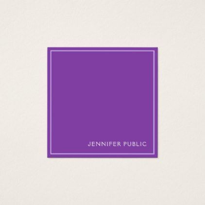 Trending Modern Elegant Violet Silk Finish Luxe Square Business Card - simple clear clean design style unique diy