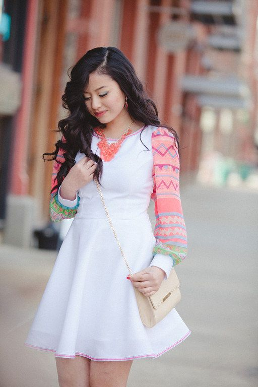 Hmong Scarf Sleeve Dress in White - Custom Made.  I am in love with this dress. :)
