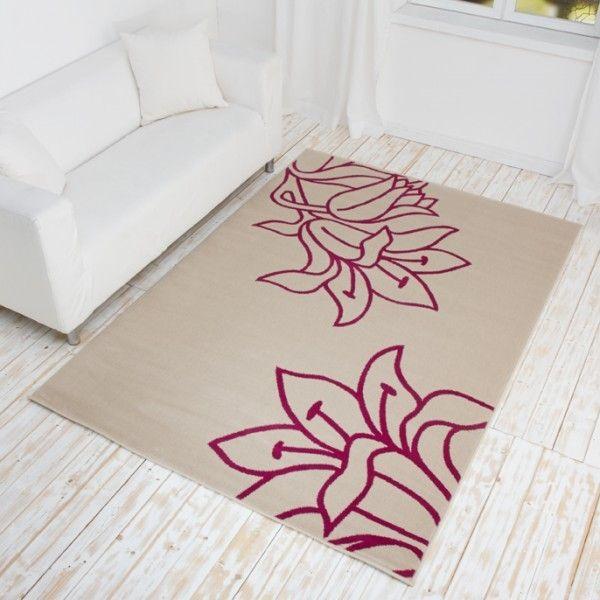 Designer Teppich Fiora - Kurzflor Teppich mit Blumen Muster