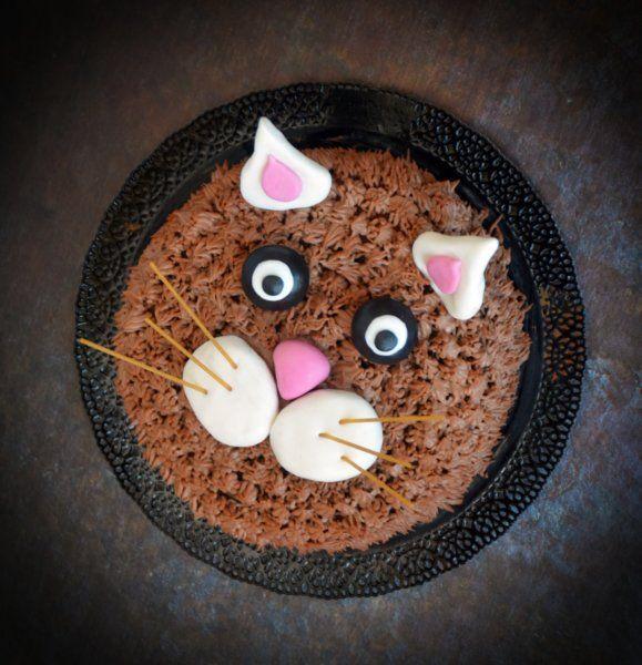 Cicás torta - szőrös díszítéssel. Nutellás-mascarponés amerikai csokitorta