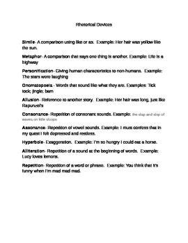 <PEM>  This handout lists the names, definitions, and examples of the following rhetorical devices:SimileMetaphorPersonificationOnomatopoeiaAllusionConsonanceAssonanceHyperboleAlliterationRepetition
