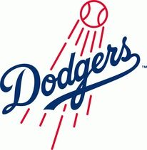 Los Angeles Dodgers Primary Logo (2012)   The Dodgers\' primary logo is modified for the 2012 season, with a thicker baseball and flight lines and a s