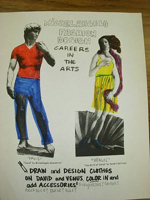 Good idea...design clothes for all the naked art work in history and incorperate fashion design into the mix!