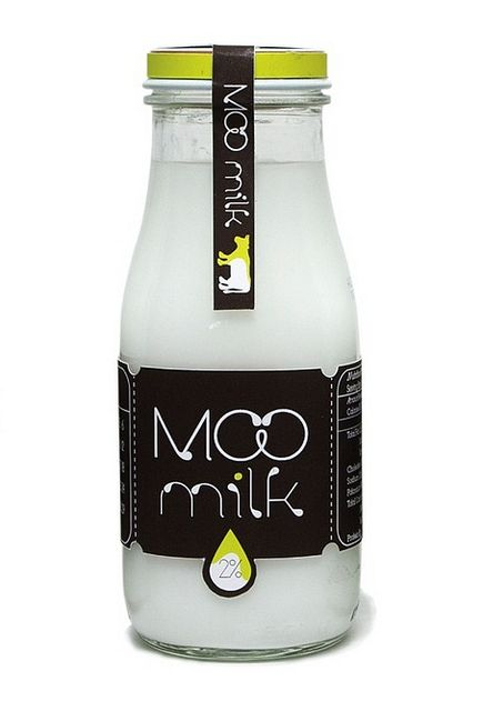 MOO milk. Simplicity of this packaging and the little cow on the tab label. PD