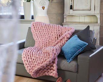 Chunky Knit Throw Chunky Knit Blanket Big 140x180 100% Merino Polish Handmade Original -    Edit Listing  - Etsy