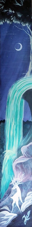 'Der weiße Hirsch' - Ein #Acrylgemälde von Christina Busse | www.christinabusse.de | #Karton | 15x120cm | Entstehungsjahr 2012 | #Hirsch #Wasserfall