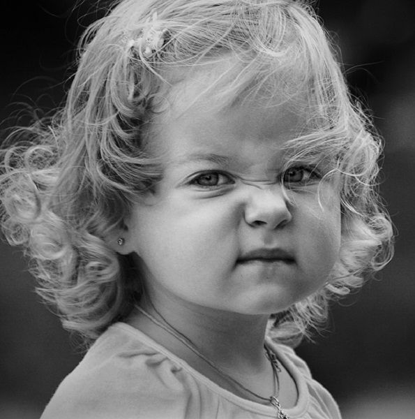 Cute blond child girl frown. Sun Stroke Photography #funnyface <3