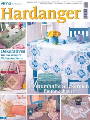 German text.  This newest issue includes many original Hardanger designs for runners, table centers, doilies, and many more creative projects.  All clearly charted. Grace your home with the Hardanger designs in this Special Anna Hardanger issue.  This incredible issue has over 60 contemporary designs filled with a lot of color.  There are 10 doilies, 10 ornaments including butterflies, 10 table toppers, 10 pillows, 5 table covers, 5 runners, and 5 window ideas. Cute designs for a book cover…