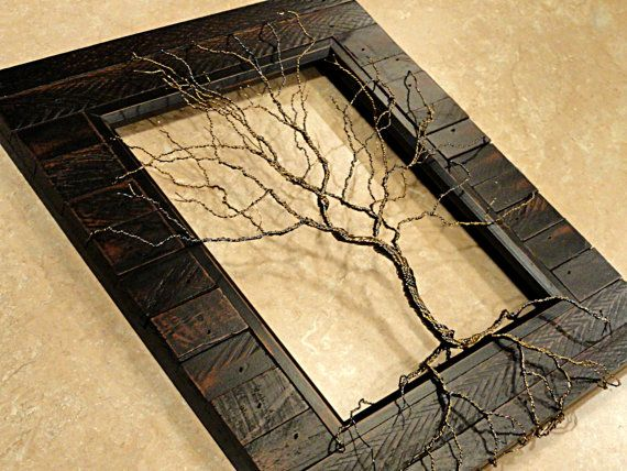 Twisted Wire Tree Sculpture Tree of Life Sculpture Wood Framed Tree