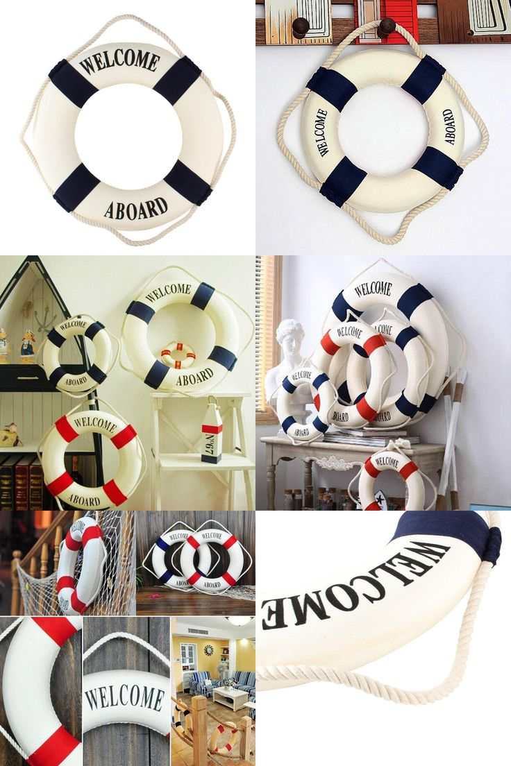 [Visit to Buy] Nautical Mediterranean Style Decor Nordic Foam Ring Buoy Welcome Sign Wall Hanging Home Decoration Dark Blue Band (Blue) #Advertisement