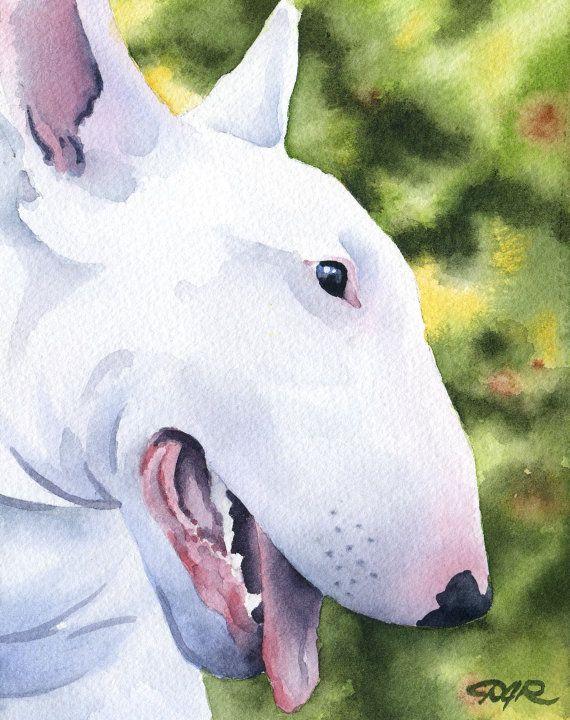 White BULL TERRIER Dog Art Print Signed by Artist DJ Rogers