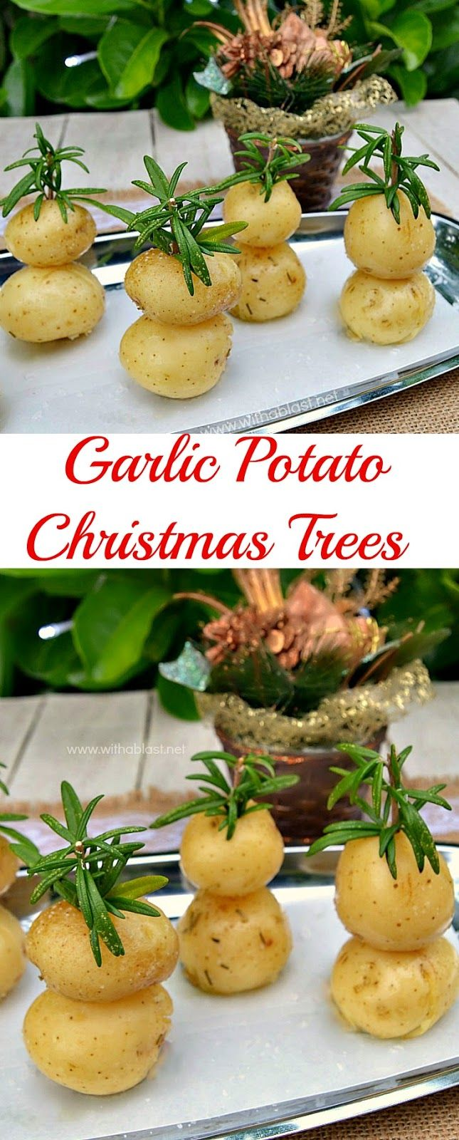 Festive looking and very Garlicky with a hint of Rosemary ~ perfect side dish for #Christmas !