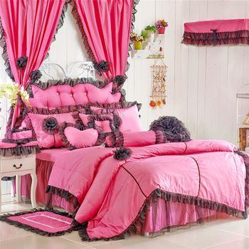 100% pamuk 3/4pcs country tarzı çiçek nevresim takımları dantel kenar gül/siyah renkli kız odası dekorasyon nevresim seti