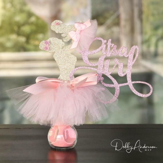It's A Girl Centerpiece, Baby Shower Centerpiece, Its A Girl Party Decorations, Ballerina Centerpiece, Girl Baby Shower Centerpiece