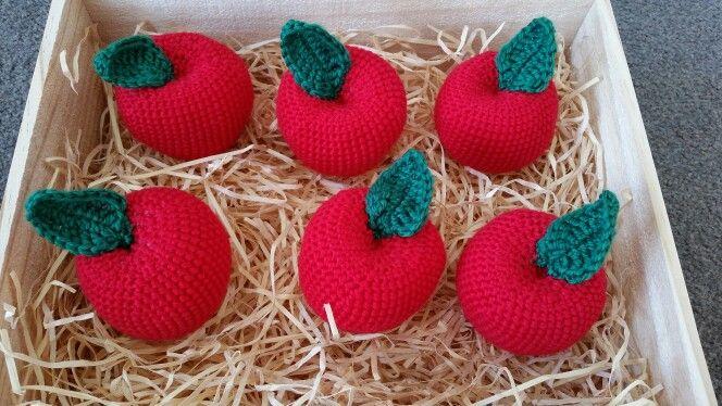 Crate of apples. Crochet.