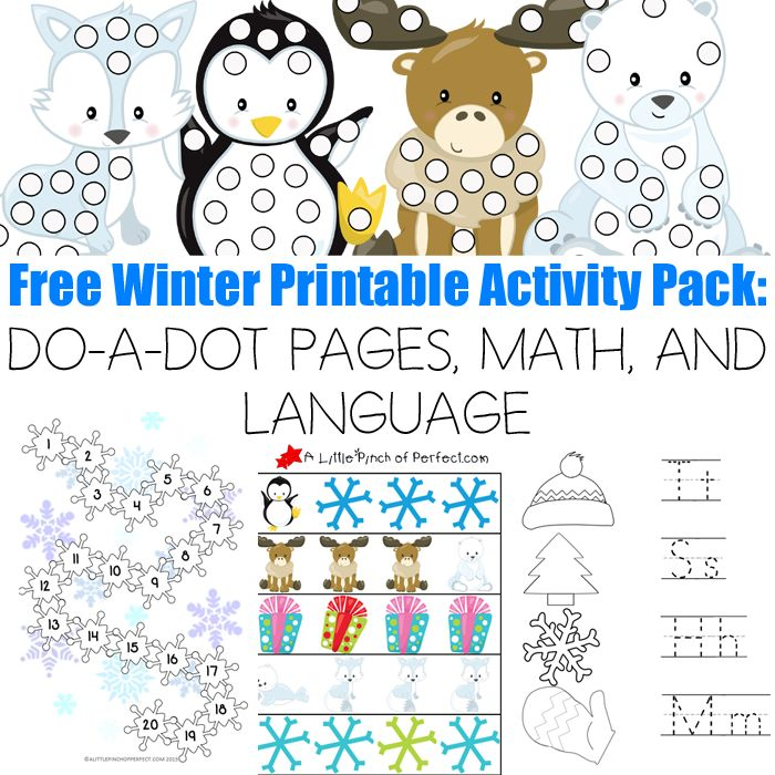 free winter printable activity pack do a dot pages math and language a little pinch of. Black Bedroom Furniture Sets. Home Design Ideas