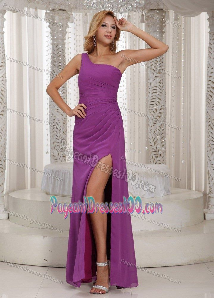 Fuchsia Pageant Dress For Miss World with High Slit and One Shoulder Neck