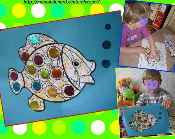 Coloriage pour gommettes le poisson coloriage imprimer - Coloriage mois d avril ...