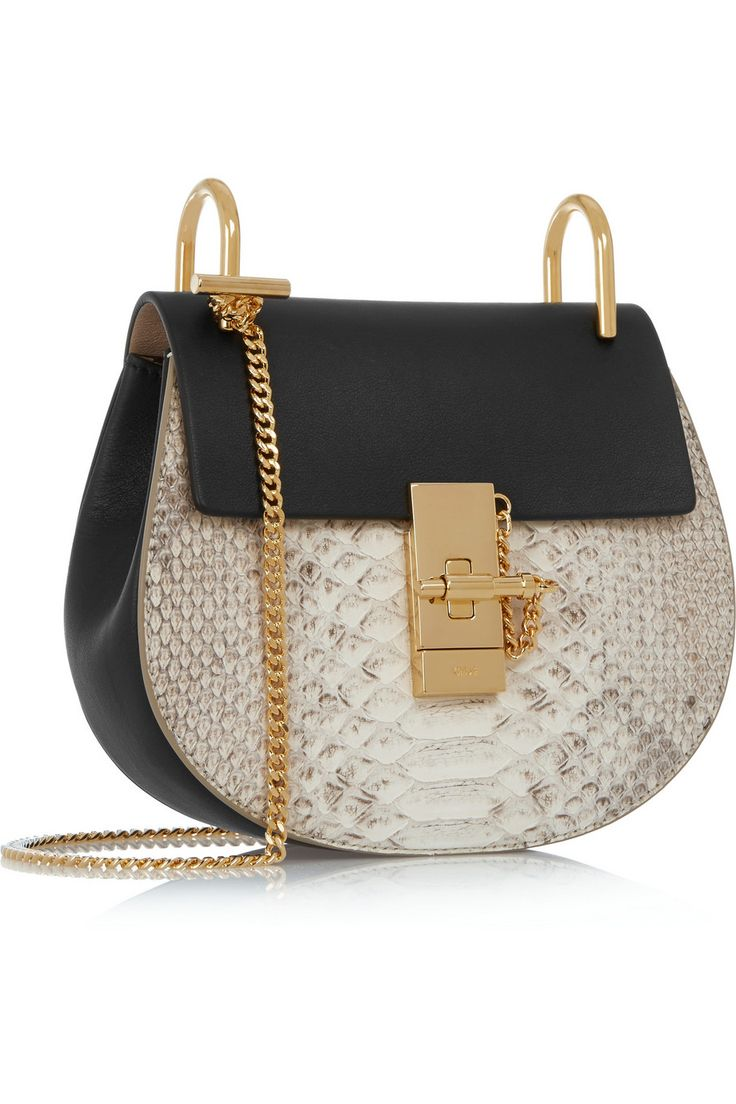 Chlo¨¦ | Drew mini python and leather shoulder bag | Bag It ...