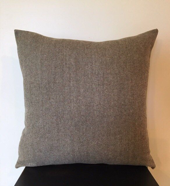 Wool Herringbone Pillow Brown Tweed Pillow Menswear Sofa Pillow